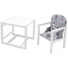 Стульчик- трансформер Babyroom Пони-240 белый пластиковая столешница  серый (собачки)