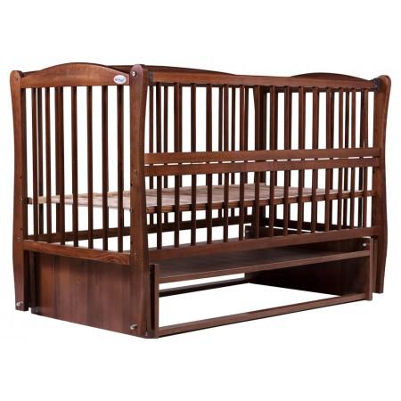 Кровать Babyroom Еліт резьба, маятник, откидной бок DER-6  бук орех