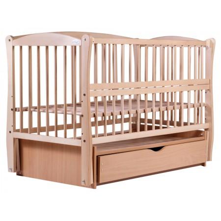 Кровать Babyroom Еліт резьба маятник, ящик, откидной бок DER-7  бук светлый (натуральный)