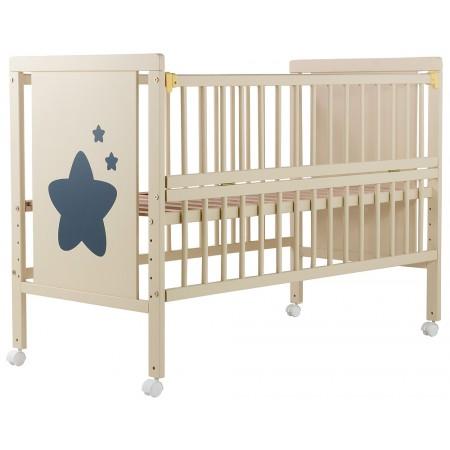 Кровать Babyroom Звездочка Z-01 откидной бок, колеса  бук слоновая кость