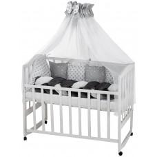 Детская постель Babyroom Classic косичка-01  серо-белые звездочки