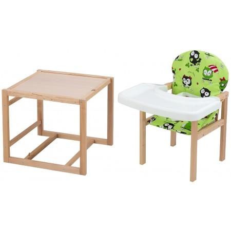 Стульчик- трансформер Babyroom Пони-230 eko без лака пластиковая столешница  зеленый (совы)