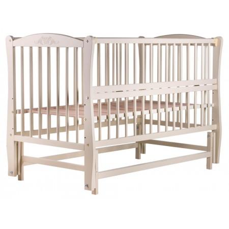 Кровать Babyroom Еліт резьба, маятник, откидной бок DER-6  бук слоновая кость