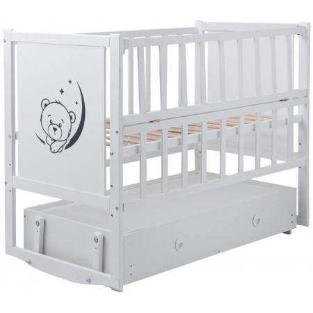 Кровать Babyroom Тедди ТР-03 ровное быльце, маятник, ящик, откидной бок  белый