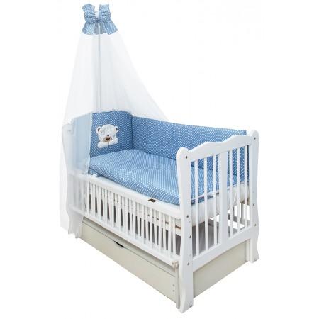 Кровать Babyroom Хвилька маятник, ящик, откидной бок DHMYO-11  бук белый