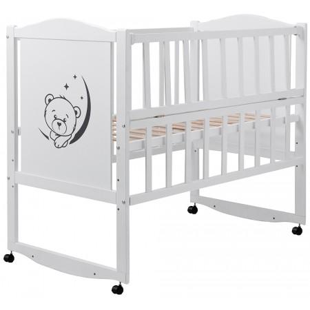 Кровать Babyroom Тедди T-01 фигурное быльце, откидной бок, колеса  белый