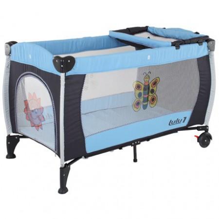 Манеж-кровать Quatro Lulu 1 с пеленатором  голубой - черный