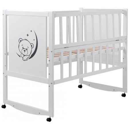 Кровать Babyroom Тедди TР-01 ровное быльце, откидной бок, колеса  белый