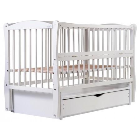 Кровать Babyroom Еліт резьба маятник, ящик, откидной бок DER-7  бук белый