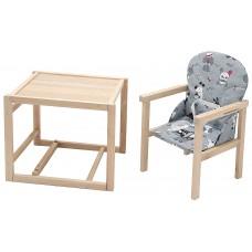 Стульчик- трансформер Babyroom Пони-230 eko без лака пластиковая столешница  серый (собачки)
