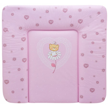 Пеленальный матрас Maltex мягкий 72х75 см  мишка на цветочке, розовый