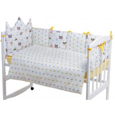 Детская постель Babyroom Classic Bortiki-01 (6 элементов)  желтый-белый (лиса, енот)