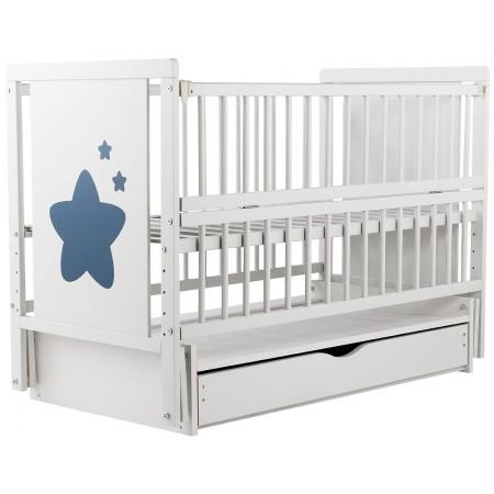 Кровать Babyroom Звездочка Z-03 маятник, ящик, откидной бок  бук белый