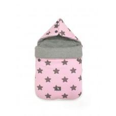 Универсальный конверт в коляску и автокресло Cottonmoose Pooh 330/27/49 розовый (звезды) с серым меланж