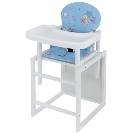 Стульчик- трансформер Babyroom Пони-240 белый пластиковая столешница  голубой (мишка, пчелка, звезда)