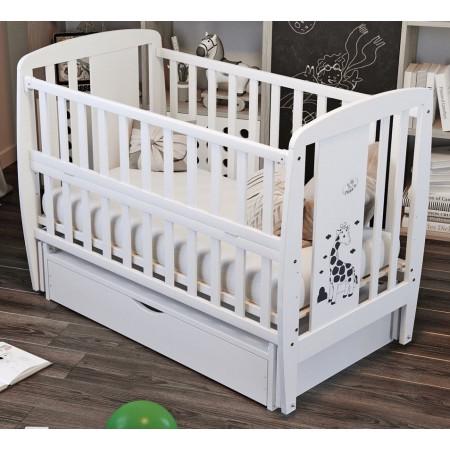 Кровать Babyroom Жирафик маятник, ящик, откидной бок  бук белый