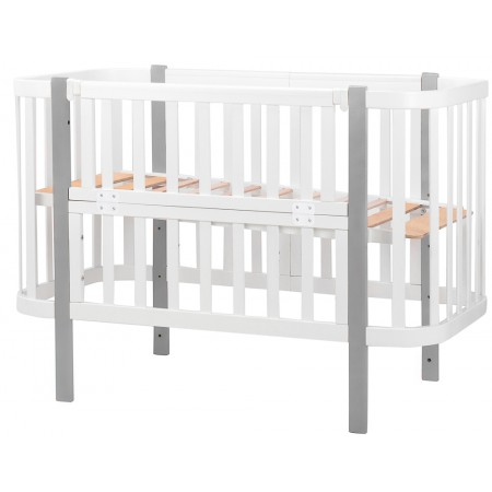 Кровать Babyroom Луна (120x60)  белый - серый