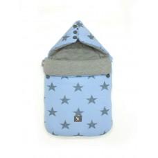 Универсальный конверт в коляску и автокресло Cottonmoose Pooh 330/26/49 голубой (звезды) с серым меланж