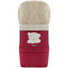 Зимний конверт Babyroom №20 с удлинением  бордовый (мордочка мишки штопаная)