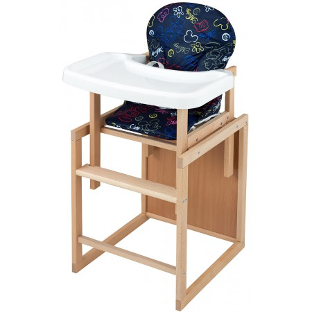 Стульчик- трансформер For Kids Бук-07 ЕСО пластиковая столешница (фигурная спинка)  темно-синий (mickey mouse)