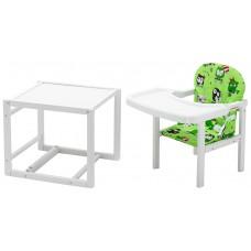 Стульчик- трансформер Babyroom Пони-240 белый пластиковая столешница  зеленый (совы)