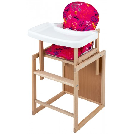 Стульчик- трансформер For Kids Бук-07 ЕСО пластиковая столешница (фигурная спинка)  малиновый (mickey mouse)