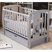 Кровать Babyroom Жирафик маятник, ящик, откидной бок  бук серый