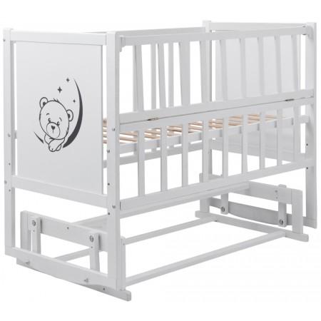 Кровать Babyroom Тедди ТР-02 ровное быльце, маятник, откидной бок  белый