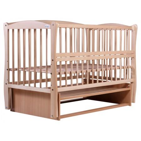 Кровать Babyroom Еліт резьба, маятник, откидной бок DER-6  бук светлый (натуральный)